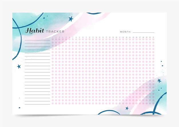 Habit tracker template with wavy design