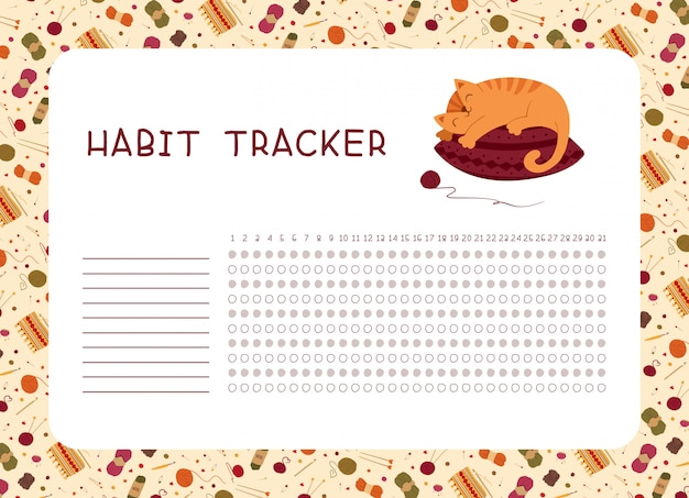 Habit tracker with adorable kitten sleeping on knitted pillow