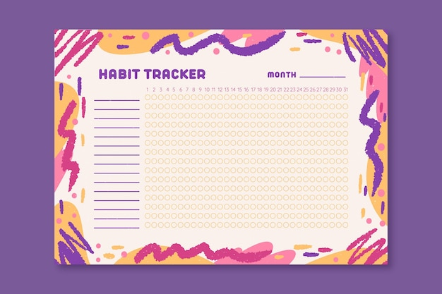 Habit tracker with colored wavy lines