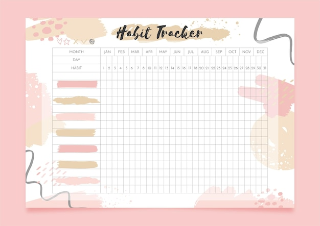 Habit tracker with pastel shapes