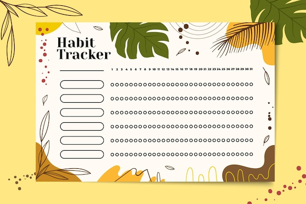 Habit tracker with tropical background