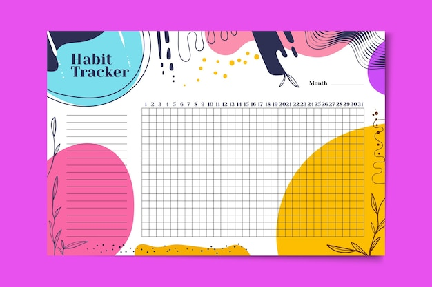 Habit tracker with vivid colored stains