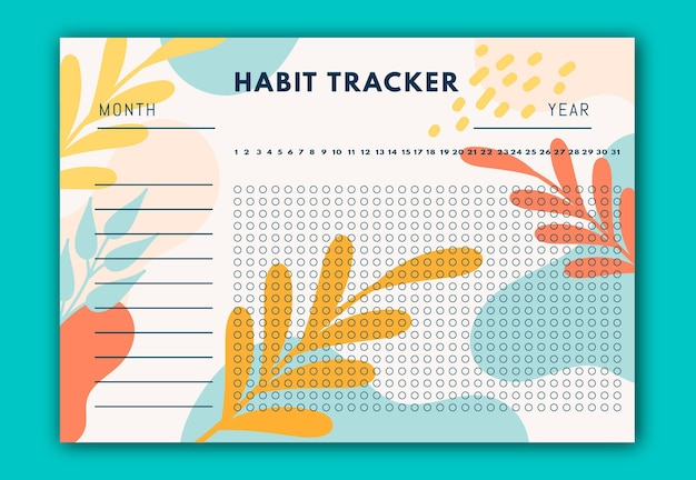 Habit tracker with yellow and red leaves