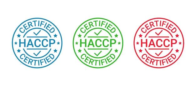 Значок значка с сертификатом haccp. эмблема гарантии качества. векторная иллюстрация.