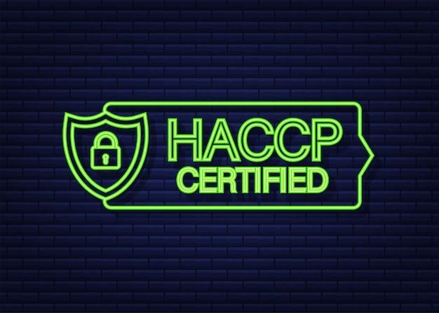 白い背景の上のhaccp認定アイコン。ネオンアイコン。ベクトルストックイラスト。
