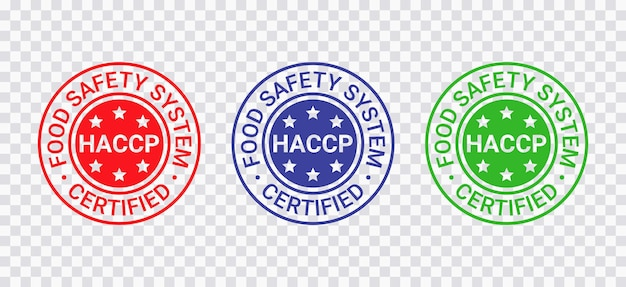 Haccp certified stamp. food safety system round emblem. hazard analysis critical control points seal imprint