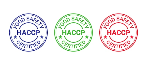 Haccp certified stamp. hazard analysis and critical control points round emblem. food safety system