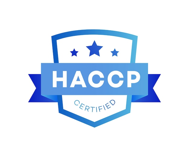 Haccp hazard analysis critical control points certified award color flat style isolated on white