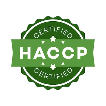 Haccp hazard analysis critical control points certified emblem color flat style isolated on white
