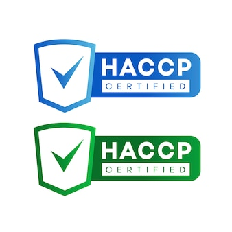Haccp hazard analysis critical control points certified sign set color flat style isolated on white