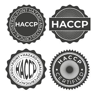 Печать haccp. значок критических контрольных точек анализа опасностей. векторный шаблон.