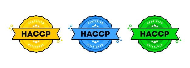 Haccp 스탬프 세트입니다. 벡터. haccp 배지 아이콘입니다. 인증 배지 로고. 스탬프 템플릿. 레이블, 스티커, 아이콘입니다. 벡터 eps 10입니다. 흰색 배경에 고립.