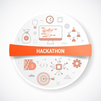 Hackathon business work concept with icon concept with round or circle shape illustration