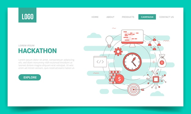 Hackathon concept with circle icon for website template