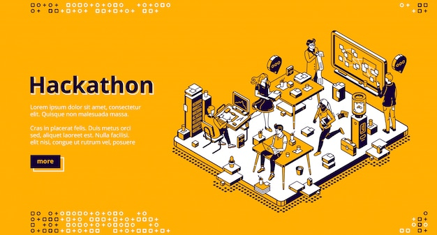 Hackathon isometric landing, software development