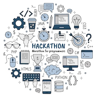Hackathon set of doodle style icons for developers and programmers