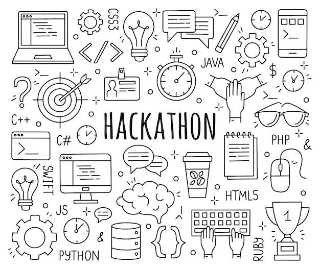 Хакатон набор иконок в стиле каракули для разработчиков и программистов