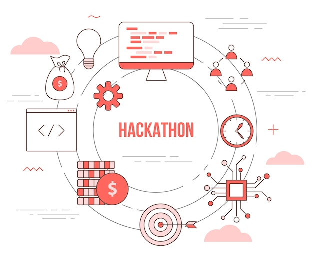 Hackathon technology concept with  set template banner with modern orange color style