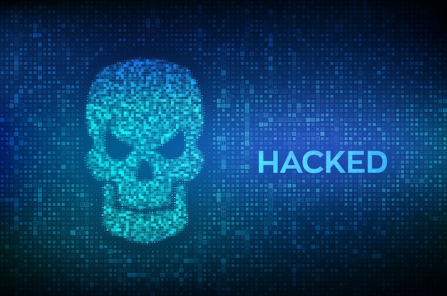 Hacked. shape of skull made with binary code.  of cyber crime, internet piracy and hacking.