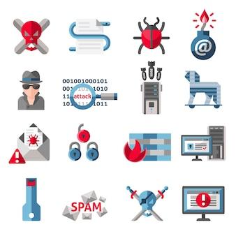 해커 활동 컴퓨터 및 전자 메일 스팸 바이러스 아이콘 격리 된 벡터 일러스트 레이 션 설정
