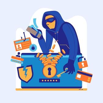 Illustrazione di concetto di attività del pirata informatico con l'uomo