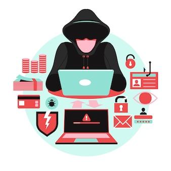 Illustrazione di concetto di attività di hacker