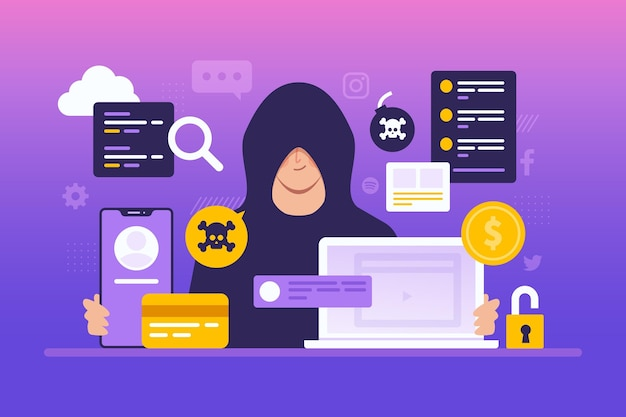 Hacker activity concept with man and devices