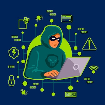 Hacker activity concept with man illustration