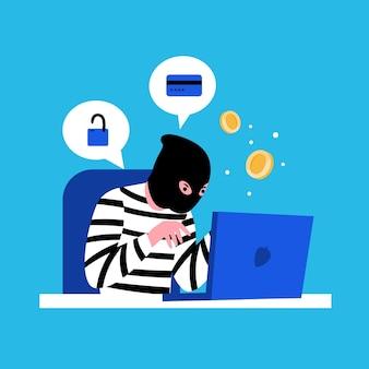 Concetto di attività del pirata informatico con l'illustrazione del computer portatile e dell'uomo