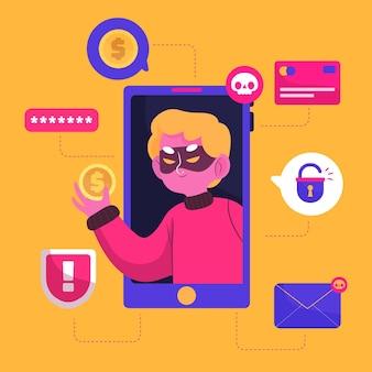 Concetto illustrato attività del pirata informatico