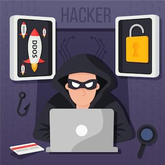 Hacker activity illustrated design