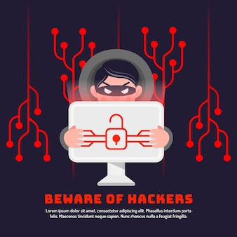 Hacker activity illustration theme