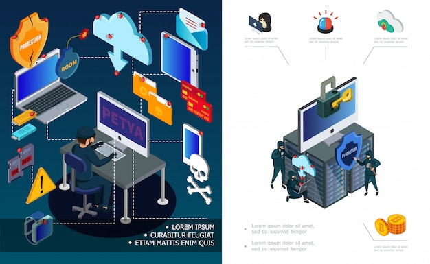 Hacker activity and internet security composition with computer password devices mail datacenter hacking virus attack financial cyber crimes in isometric style