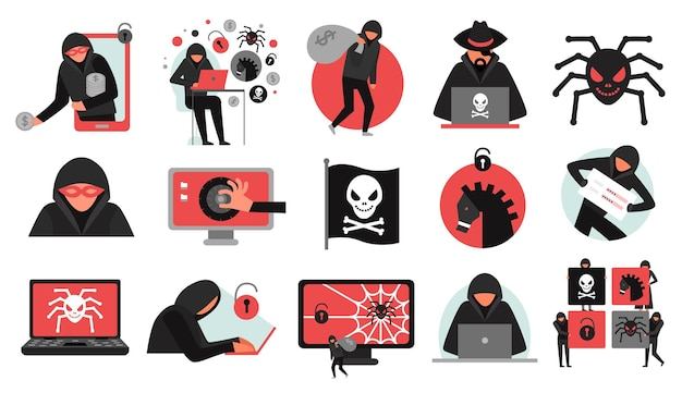Attività di hacker set di icone rosse nere che interrompono il malware dell'account