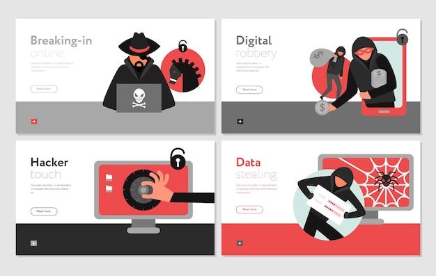 Set di attività di hacker di banner orizzontali che rompono i sistemi informatici
