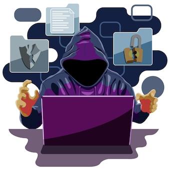 Хакер и киберпреступник взлома системы безопасности и кражи информационных данных