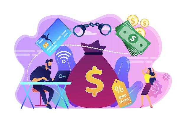 金融詐欺を犯し、お金で巨大なバッグを盗むラップトップのハッカー。金融犯罪、マネーロンダリング、闇市場の商品の概念。
