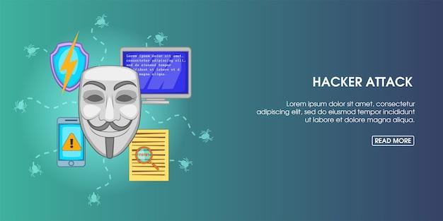 Hacker attack banner horizontal, cartoon style