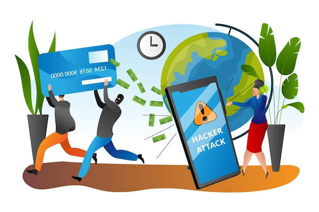 Hacker attack, crime in internet, vector illustration. criminal man character fraud with phone security, steal card and money. tiny woman stand near smartphone, look at cyber thief group.