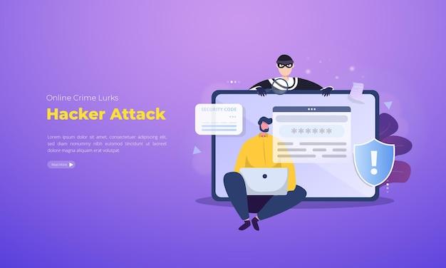 사이버 범죄 그림 개념에 대한 해커 공격