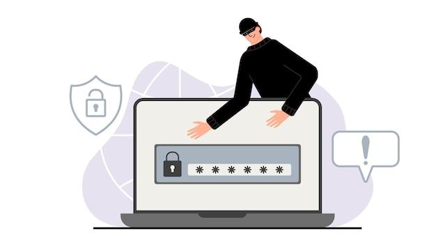 Хакерская атака. мошенничество с данными пользователей в социальных сетях. кража кредитной или дебетовой карты. интернет-фишинг, взломанный логин и пароль. киберпреступность и преступность. вор на сайте в интернете.