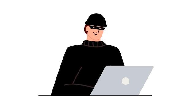 ハッカー攻撃。ソーシャルネットワーク上のユーザーデータの詐欺。インターネットフィッシング、ハッキングされたパスワード。サイバー犯罪と犯罪。インターネット上のオンラインwebサイトの泥棒。ラップトップ、コンピューターの背後にいる犯罪者。