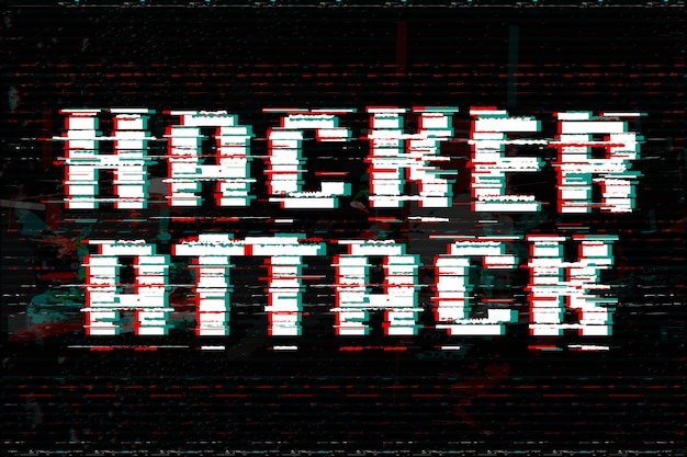 Hacker attack  illustration. glitch effect text.