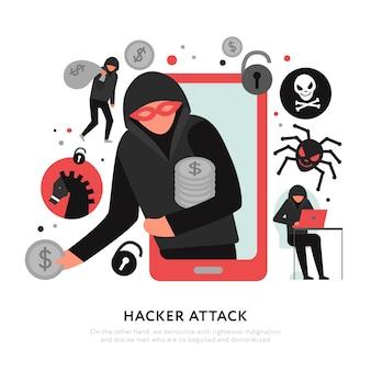 Attacco hacker con rapina digitale e icone di malware su illustrazione piatta bianca
