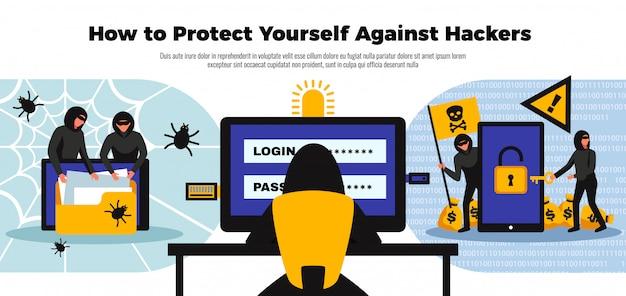 Fondo del pirata informatico con l'illustrazione piana di simboli online del sistema di sicurezza