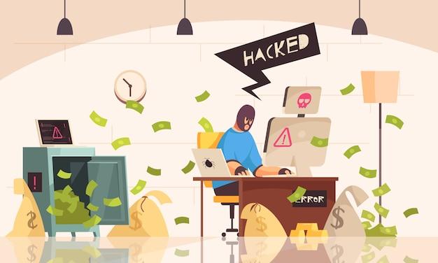 La composizione in computer del pirata informatico con l'uomo nella maschera si siede nella sala e ruba le informazioni facendo uso di un'illustrazione di vettore del computer