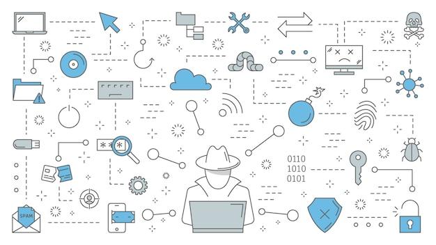 해커 개념. 사이버 스파이는 노트북에서 디지털 데이터를 훔칩니다. 도둑 공격 컴퓨터 시스템. 인터넷에서 해킹. 라인 아이콘의 집합입니다. 삽화