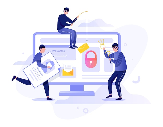 ハッカーのコンセプト。コンピューターからデジタルデータを盗む。泥棒攻撃装置システム。インターネットのハッキング。漫画のスタイルのイラスト