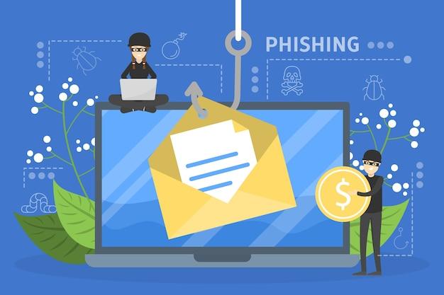 Концепция хакера. кража цифровых данных с компьютера