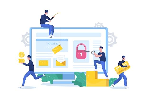 Концепция хакера. воры атакуют компьютер, крадут личные данные
